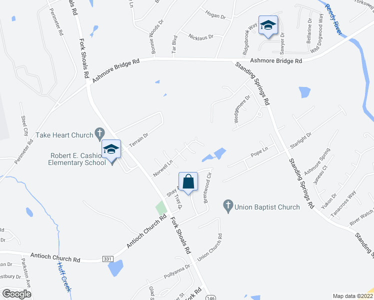 map of restaurants, bars, coffee shops, grocery stores, and more near 10 Medfield Court in Greenville