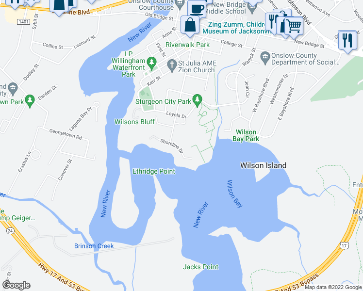 map of restaurants, bars, coffee shops, grocery stores, and more near 86A Shoreline Drive in Jacksonville