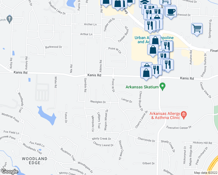 map of restaurants, bars, coffee shops, grocery stores, and more near in Little Rock