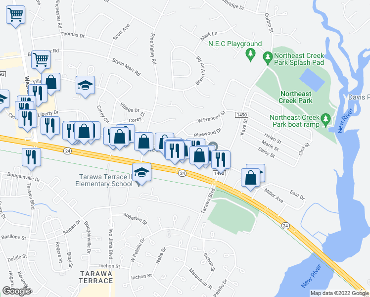 map of restaurants, bars, coffee shops, grocery stores, and more near 132 Cornerstone Place in Jacksonville