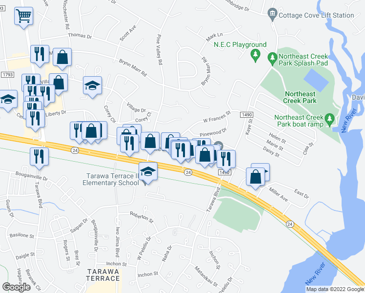 map of restaurants, bars, coffee shops, grocery stores, and more near 106 Cornerstone Place in Jacksonville