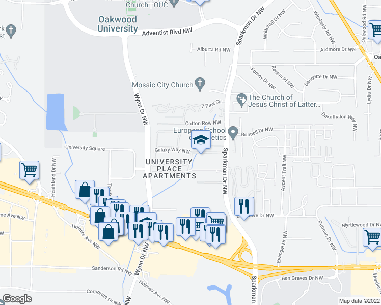 map of restaurants, bars, coffee shops, grocery stores, and more near 4985-4999 Galaxy Way Northwest in Huntsville