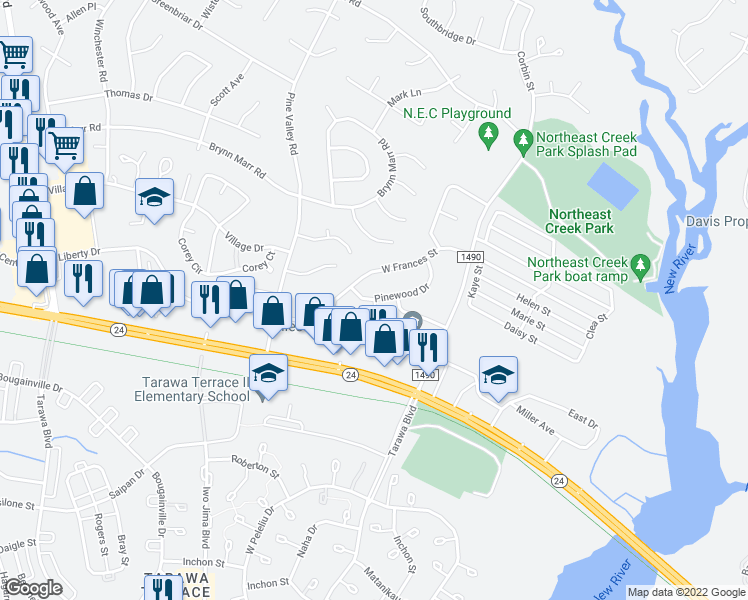 map of restaurants, bars, coffee shops, grocery stores, and more near 78 Persimmon Court in Jacksonville