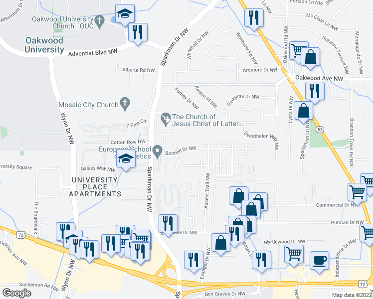 map of restaurants, bars, coffee shops, grocery stores, and more near 1429-4515 Bonnell Drive Northwest in Huntsville