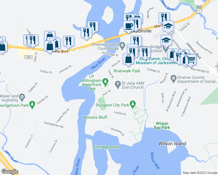 map of restaurants, bars, coffee shops, grocery stores, and more near 46 L P Willingham Parkway in Jacksonville