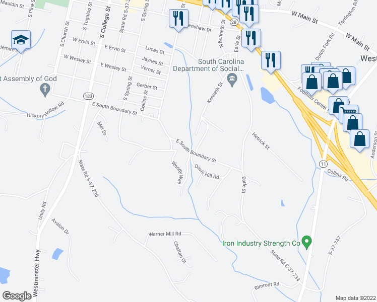 map of restaurants, bars, coffee shops, grocery stores, and more near 122 Sims Circle in Walhalla