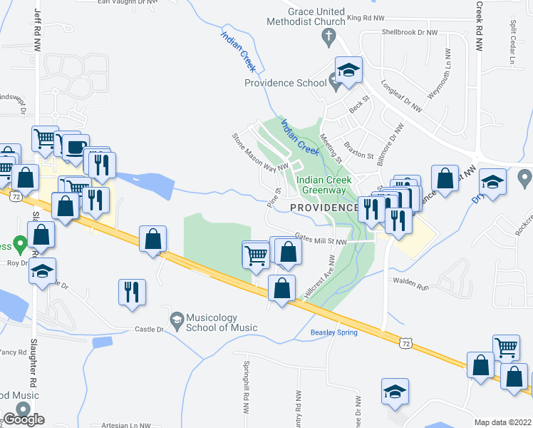 map of restaurants, bars, coffee shops, grocery stores, and more near 50 Pine Street in Huntsville