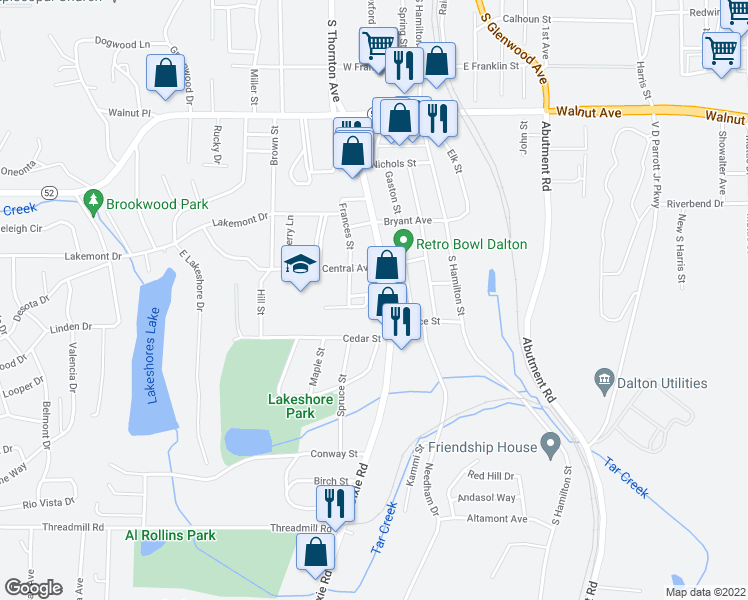 map of restaurants, bars, coffee shops, grocery stores, and more near 407 Southland Drive in Dalton