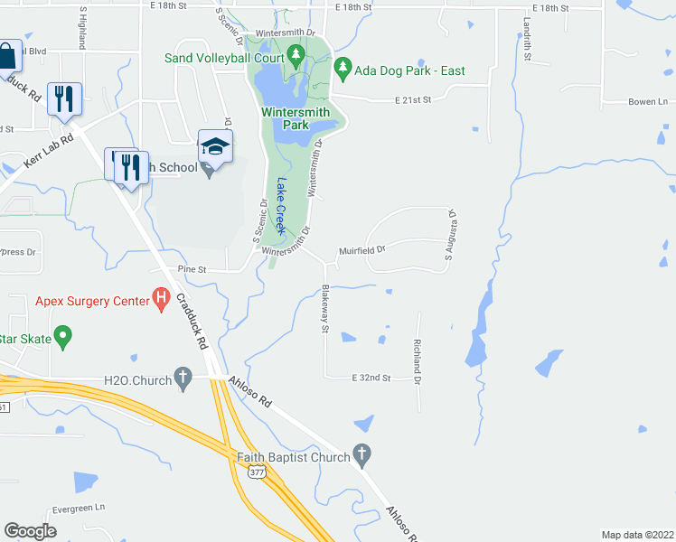 map of restaurants, bars, coffee shops, grocery stores, and more near Blake Way in Ada