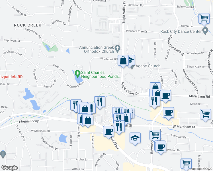 map of restaurants, bars, coffee shops, grocery stores, and more near 500 Napa Valley Drive in Little Rock