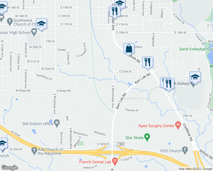 map of restaurants, bars, coffee shops, grocery stores, and more near Cobblestone Drive in Ada