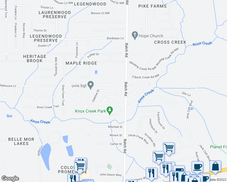 map of restaurants, bars, coffee shops, grocery stores, and more near 117 Willow Bluff Drive in Madison