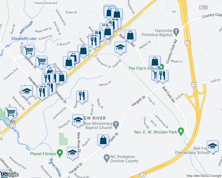 map of restaurants, bars, coffee shops, grocery stores, and more near 103 Robin Road in Jacksonville