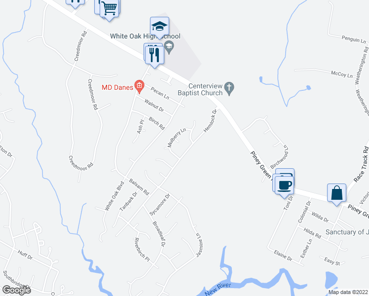 map of restaurants, bars, coffee shops, grocery stores, and more near 212 Hemlock Drive in Jacksonville