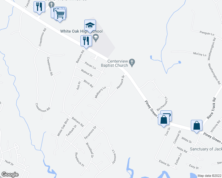 map of restaurants, bars, coffee shops, grocery stores, and more near 124 Basswood Court in Jacksonville