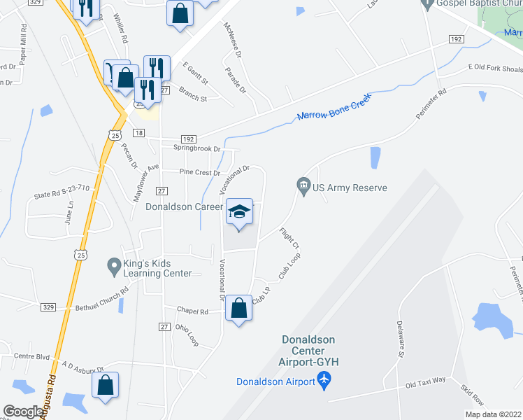 map of restaurants, bars, coffee shops, grocery stores, and more near 301-399 Vocational Drive in Greenville