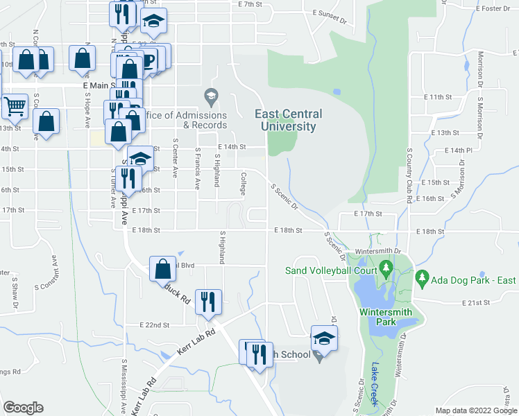map of restaurants, bars, coffee shops, grocery stores, and more near Legacy Drive in Ada