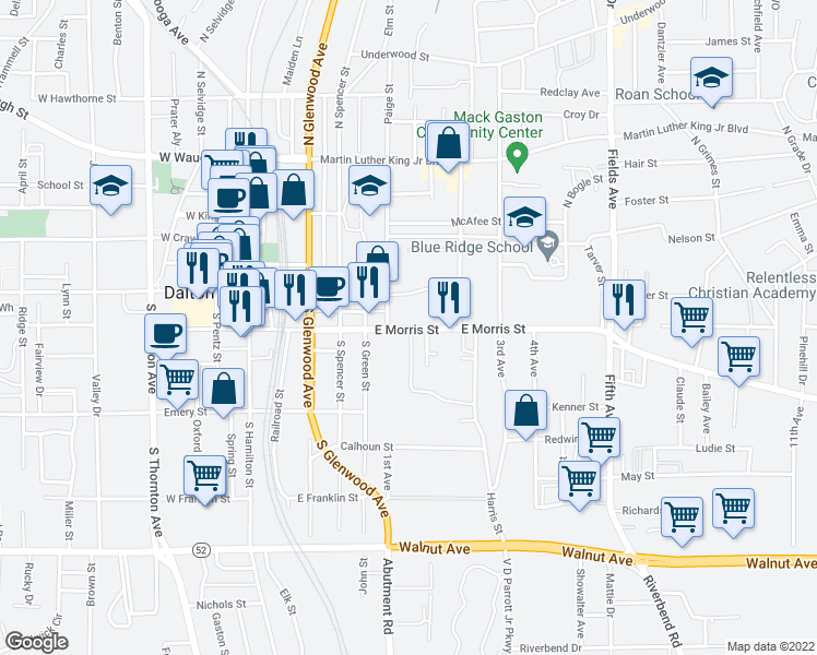 map of restaurants, bars, coffee shops, grocery stores, and more near 400-448 2nd Avenue in Dalton