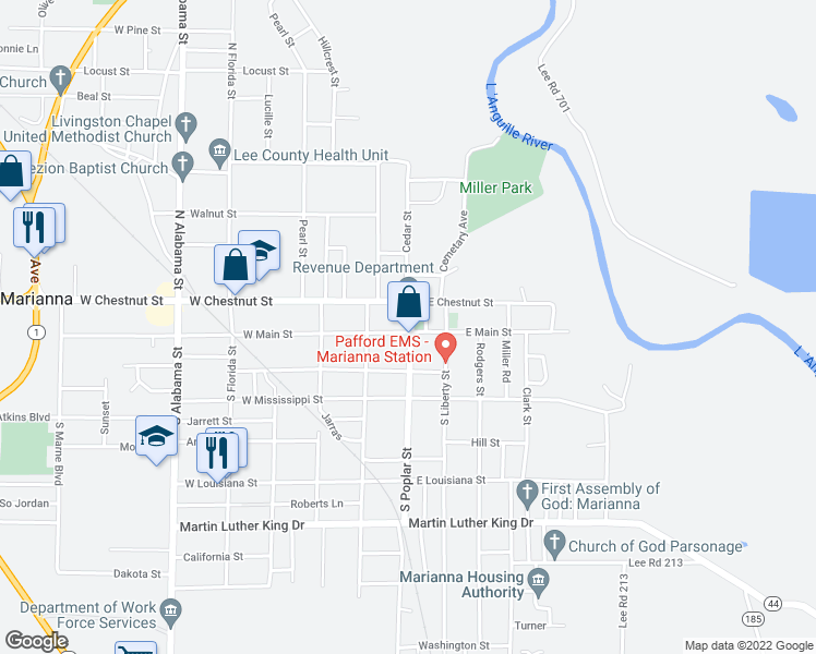 map of restaurants, bars, coffee shops, grocery stores, and more near in Marianna