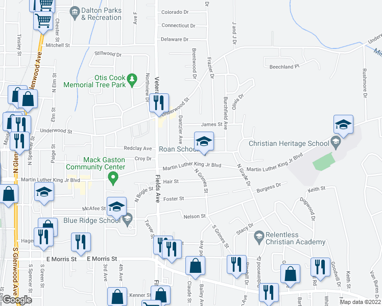 map of restaurants, bars, coffee shops, grocery stores, and more near 1103 Roan Street in Dalton