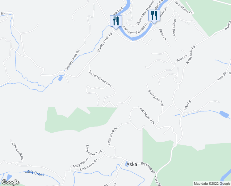 map of restaurants, bars, coffee shops, grocery stores, and more near The Forest Has Eyes in Blue Ridge