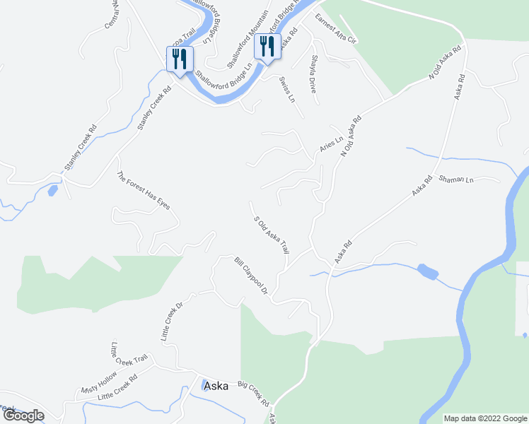 map of restaurants, bars, coffee shops, grocery stores, and more near Ridge Top Lane in Blue Ridge