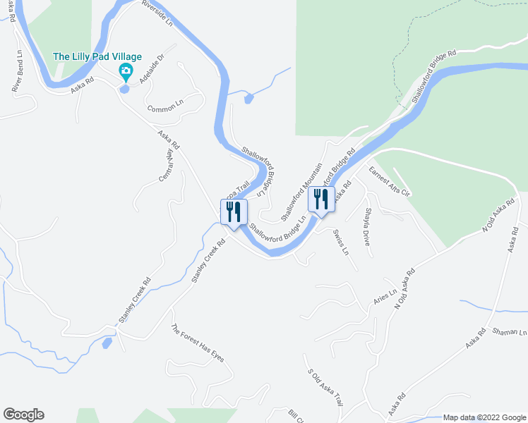 map of restaurants, bars, coffee shops, grocery stores, and more near Shallowford Mountain in Blue Ridge