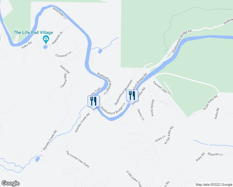 map of restaurants, bars, coffee shops, grocery stores, and more near 285 Shallowford Bridge Lane in Blue Ridge