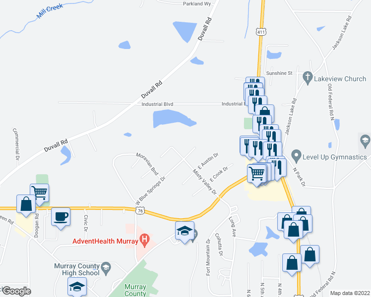 map of restaurants, bars, coffee shops, grocery stores, and more near 523 East Blue Springs Drive in Chatsworth