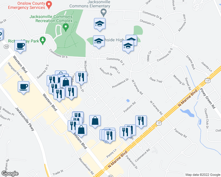 map of restaurants, bars, coffee shops, grocery stores, and more near 317 Providence Drive in Jacksonville