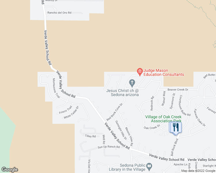 map of restaurants, bars, coffee shops, grocery stores, and more near 30 Box Canyon Road in Sedona