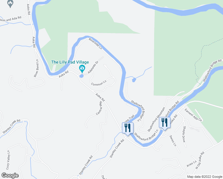 map of restaurants, bars, coffee shops, grocery stores, and more near White Pine Acres Lane in Blue Ridge