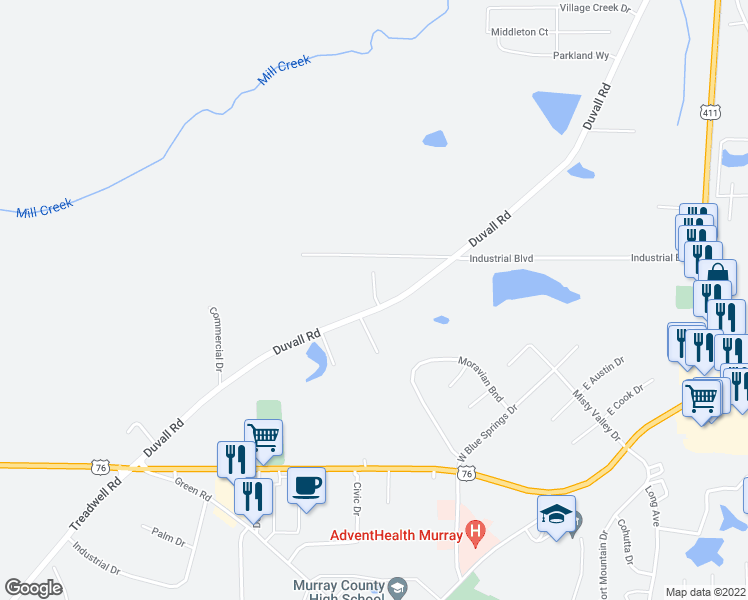 map of restaurants, bars, coffee shops, grocery stores, and more near 672 Duvall Road in Chatsworth