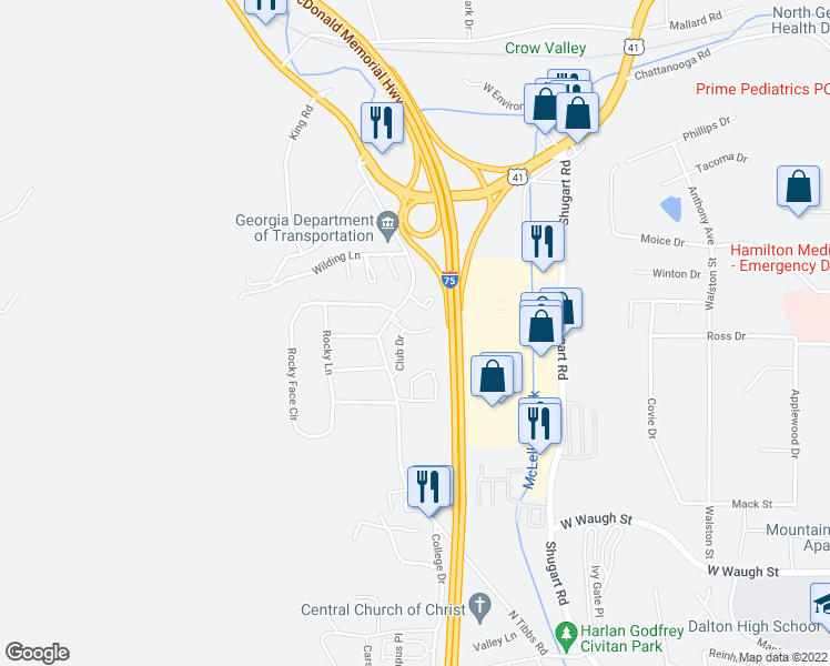 map of restaurants, bars, coffee shops, grocery stores, and more near 2101-2113 Club Drive in Dalton