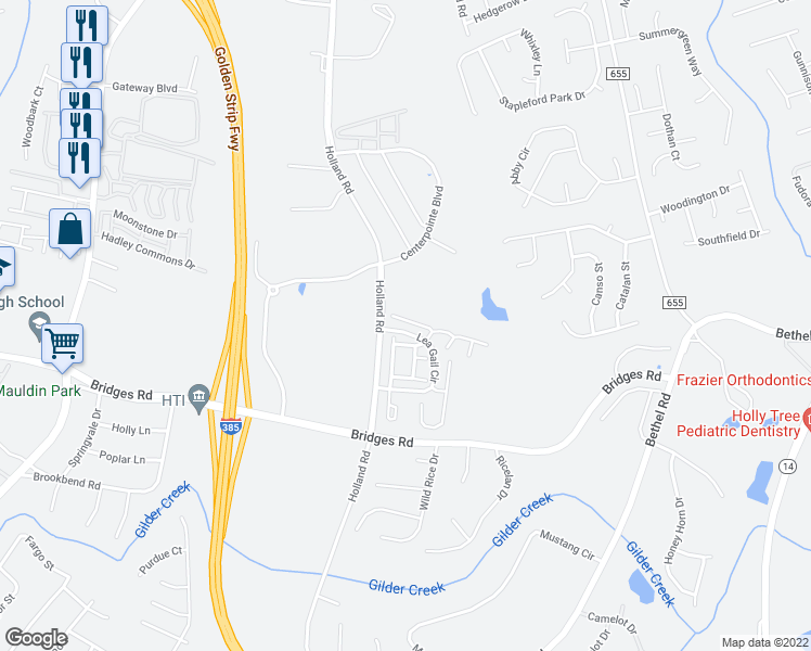 map of restaurants, bars, coffee shops, grocery stores, and more near 418 Bass Harbor Court in Simpsonville