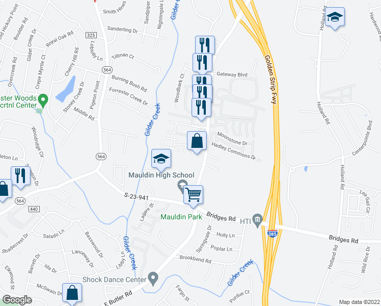 map of restaurants, bars, coffee shops, grocery stores, and more near 110 Braxton Place in Mauldin