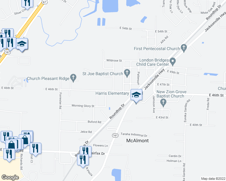 map of restaurants, bars, coffee shops, grocery stores, and more near 708 Cotton Road in North Little Rock