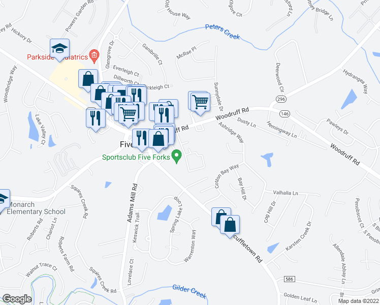 map of restaurants, bars, coffee shops, grocery stores, and more near Knights Spur Court in Five Forks