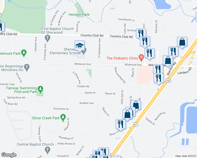 map of restaurants, bars, coffee shops, grocery stores, and more near South Claremont Avenue in Sherwood