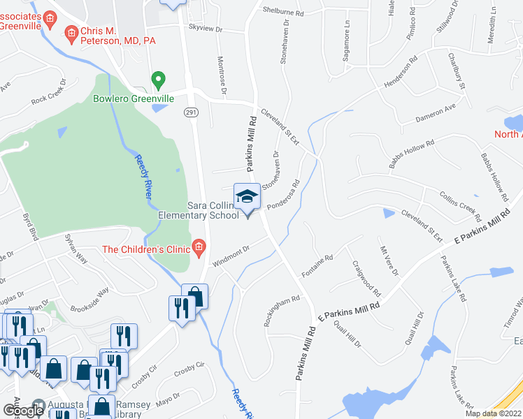 map of restaurants, bars, coffee shops, grocery stores, and more near 1200 Parkins Mill Road in Greenville