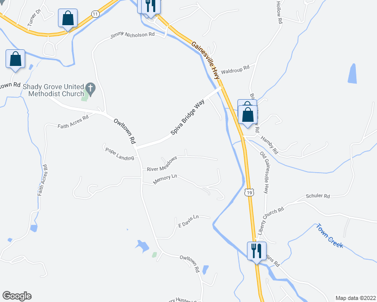 map of restaurants, bars, coffee shops, grocery stores, and more near River Meadows in Blairsville