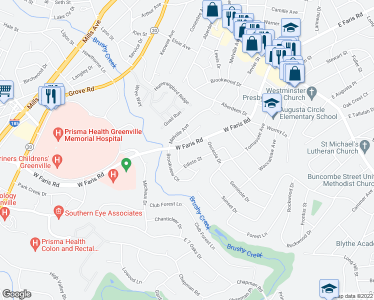 map of restaurants, bars, coffee shops, grocery stores, and more near 21 Moultrie Street in Greenville