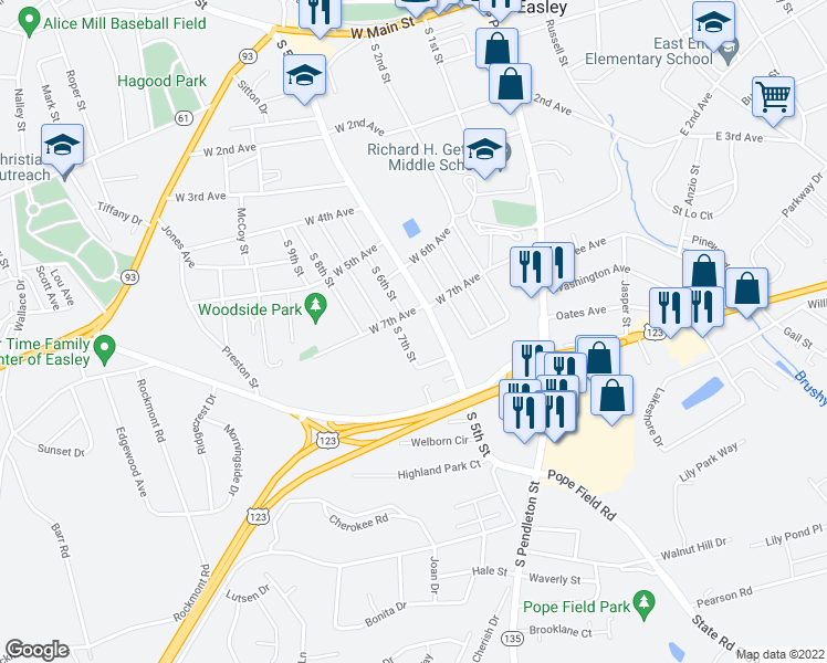 map of restaurants, bars, coffee shops, grocery stores, and more near 601 West 7th Avenue in Easley