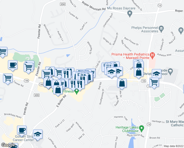 map of restaurants, bars, coffee shops, grocery stores, and more near 50 Rocky Creek Road in Greenville
