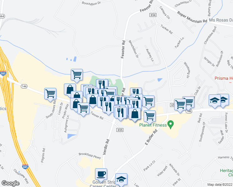 map of restaurants, bars, coffee shops, grocery stores, and more near 125 Walden Creek Way in Greenville