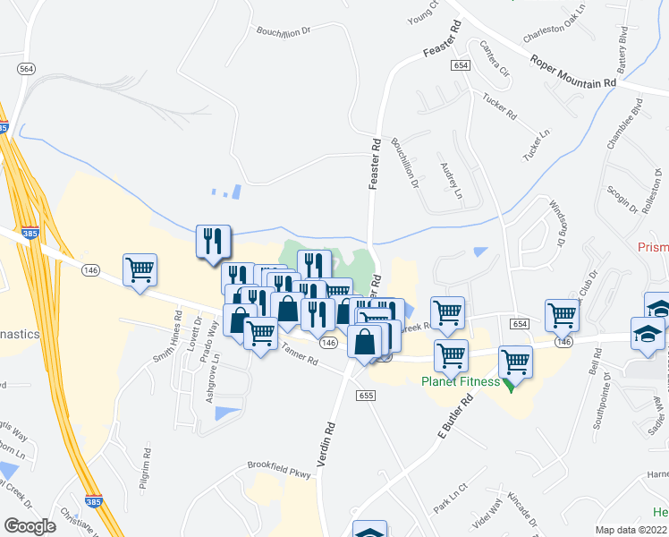 map of restaurants, bars, coffee shops, grocery stores, and more near Walden Creek Way in Greenville