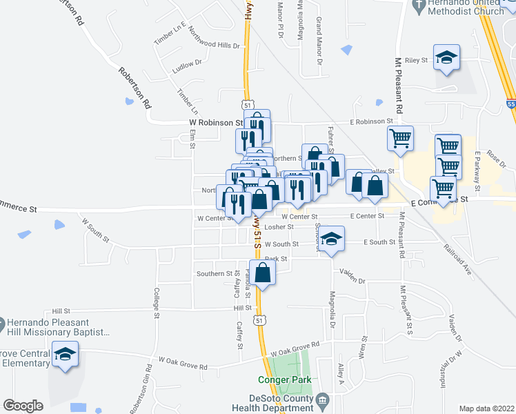 map of restaurants, bars, coffee shops, grocery stores, and more near in Hernando