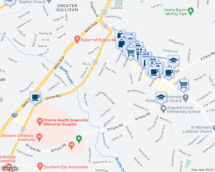 map of restaurants, bars, coffee shops, grocery stores, and more near 121 Conestee Avenue in Greenville