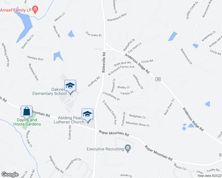 map of restaurants, bars, coffee shops, grocery stores, and more near 7 Sentinel Court in Simpsonville