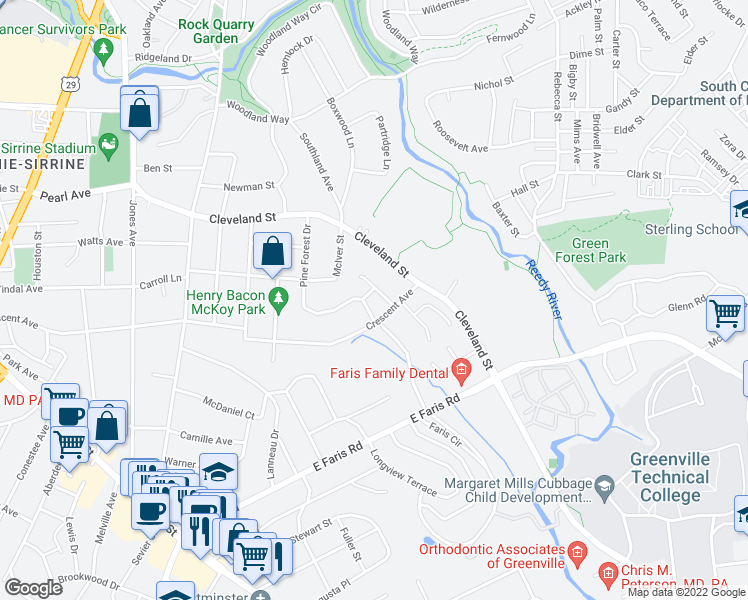map of restaurants, bars, coffee shops, grocery stores, and more near 243 Pine Forest Drive in Greenville